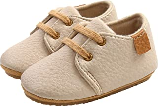 WILLFUN Baby Boys Girls PU Leather Shoes Soft Rubber Sole Lace-up Oxford Sneakers Infant Crib Shoes for Toddler First Walkers