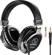 Neewer Studio Monitor Headphones - Dynamic Rotatable Headsets with 45mm Loudhailer Driver, 3 Meters Straight Cable and Coiled Cable, 1/4inch-6.35mm Plug Adapter for PC, Cell Phones, TV (NW-3000)