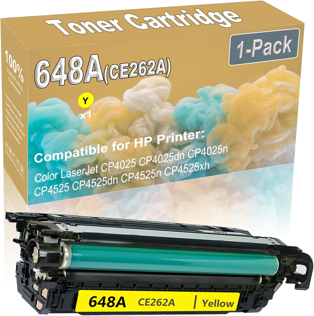 1-Pack (Yellow) Compatible CP4025 CP4025dn Laser Toner Cartridge (High Capacity) Replacement for HP 648A (CE262A) Printer Toner Cartridge
