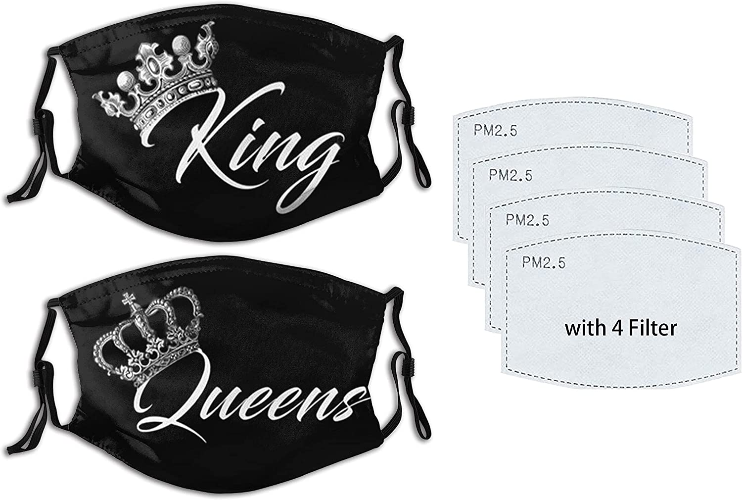2PCS King Queen Face Mask Couples Mask Reusable Washable Balaclavas with 4 Filters