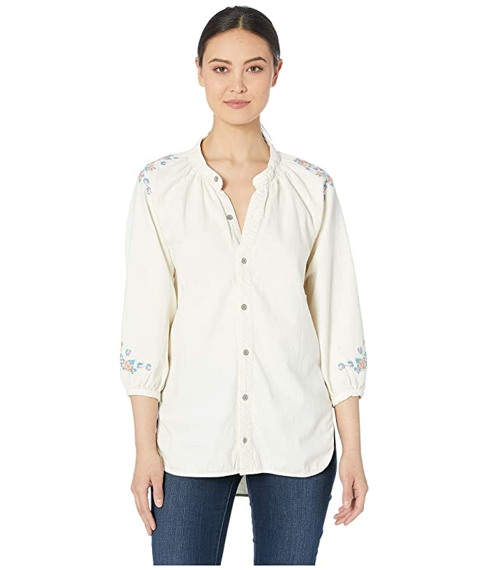 Lucky Brand  Peasant Shirt with Embroidery (Ecru) Womens Clothing