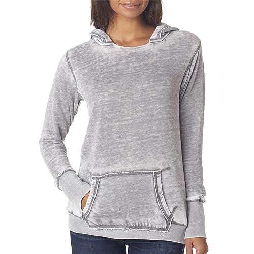 J America Womens Ladies Zen Pullover Hooded Sweatshirt
