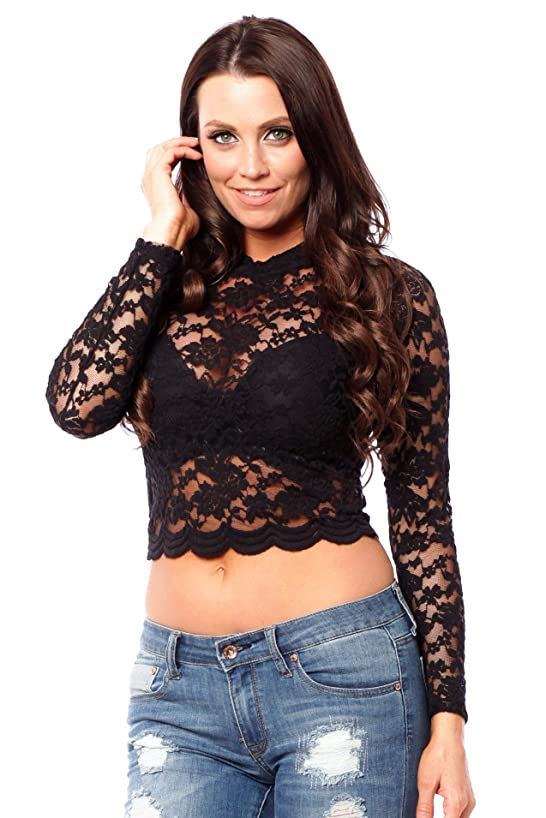 Hollywood Star Fashion Long Sleeve Lace Mock Neck Crop Top