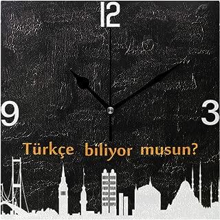 トルコのスカイラインの時計 スクエア壁時計 掛け時計 時計 掛時計 壁掛け時計 置き時計 置き掛け兼用 連続秒針 おしゃれ インテリア