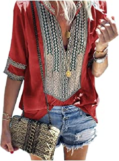 XINHEO Women's Pinstripe V-Neck Patchwork Tribal Printed Blouse Tops