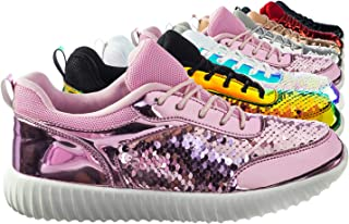 Mermaid Metallic Sequins Glitter Lace Up Sneaker w White Outsole