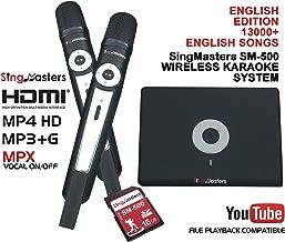 SingMasters Magic Sing English Karaoke Player,13,000+ English Songs,Dual Wireless Microphones,YouTube Compatible,HDMI,Song Recording,Portable Karaoke Machine System