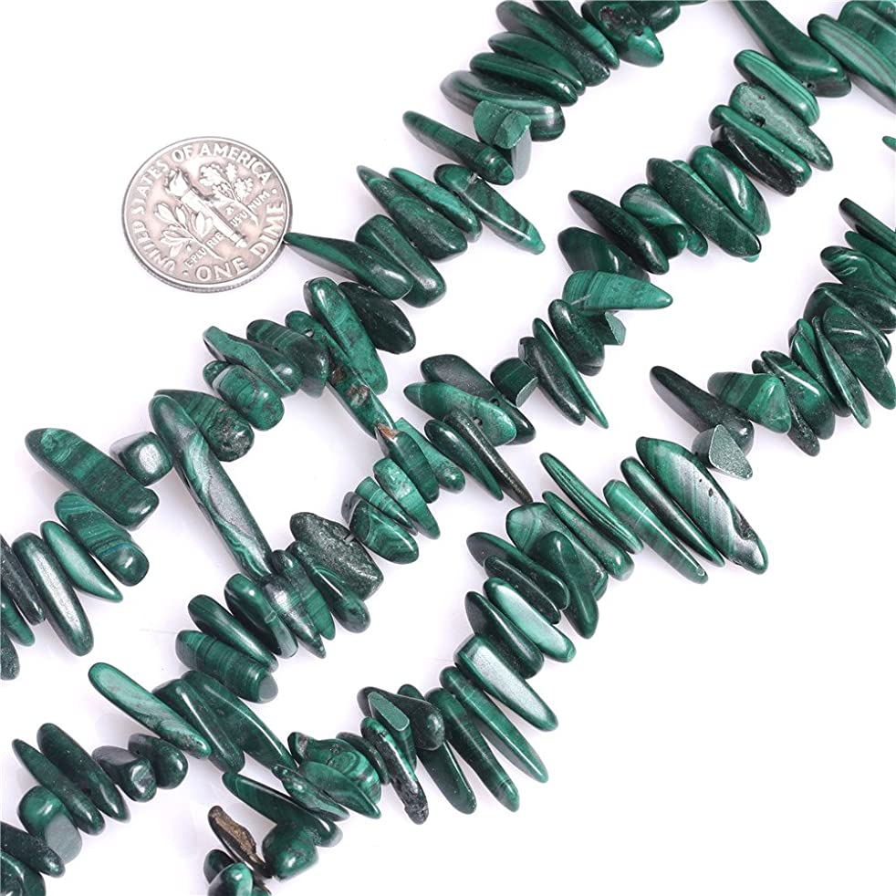 Malachite Beads for Jewelry Making Natural Gemstone Semi Precious 5x19mm Malachite Pionts Sticks Spike 15