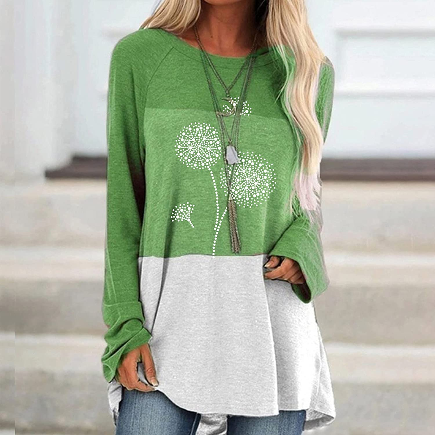 Womens Color Block Sweatshirt Loose Fit Tunic Tops Casual Workout Tops Long Sleeve Shirts Fall Tunic