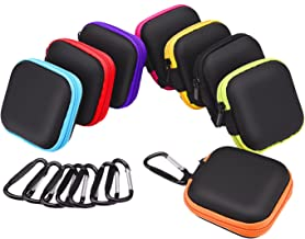 Sunmns 8 Pieces in Ear Bud Earphone Headset Headphone Case Mini Storage Carrying Pouch Bag with Carabiners