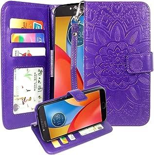 Moto E4 Plus Case, Harryshell Wrist Strap Kickstand Flip PU Leather Wallet Protective Case Cover with Card Slot for Motorola Moto E Plus (4th Generation) (Purple)