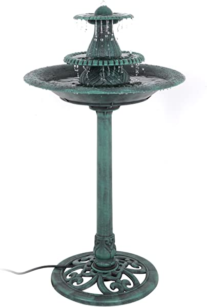 Nova Microdermabrasion 3 Tier Pedestal Bird Bath Fountain W Pump Outdoor Garden Decor
