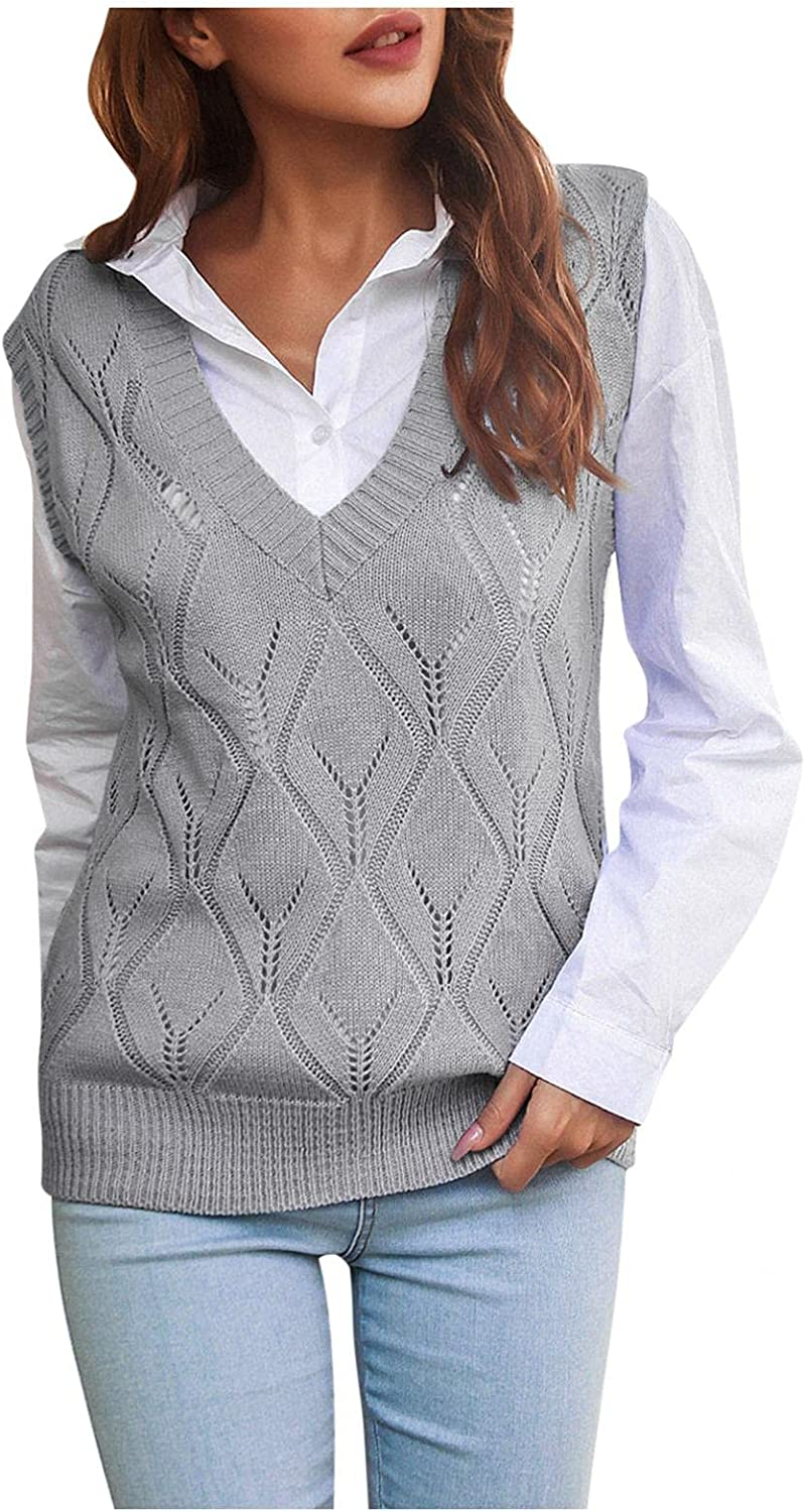Yamart Women's Sweaters Casual V-Neck Sweater All-Match Knit Vest College Style Knit Sweater