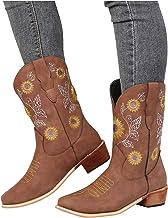 Dasongff Brede laarzen, hoge laarzen voor dames, met hak, lange laarzen, sexy, platte sneeuwlaarzen, waterdicht, cowboylaa...