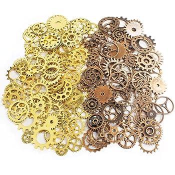 (PETIT AMORE) 歯車 チャーム 約50種 150個 ゴールド 赤銅 たっぷり 200g