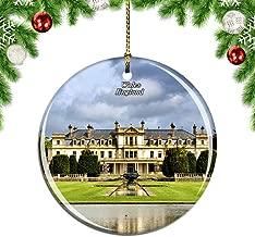 Weekino UK England Manor House Wales Christmas Xmas Tree Ornament Decoration Hanging Pendant Decor City Travel Souvenir Collection Double Sided Porcelain 2.85 Inch