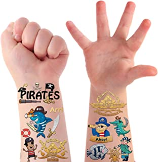 31 Styles Pirate Metallic Glitter Temporary Tattoos for Kids, Pirate Birthday Party Supplies Decorations Favors, Fake Tattoos Games Halloween Accessories for Boys and Girls - 2 Sheets