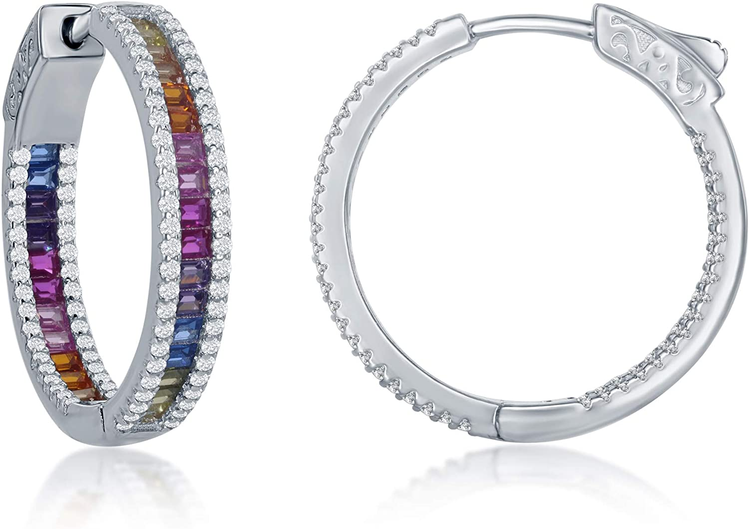 Rainbow Multi-Colored Hoop 4x25mm 4x30mm San quality assurance Diego Mall Baguette Center with Wh