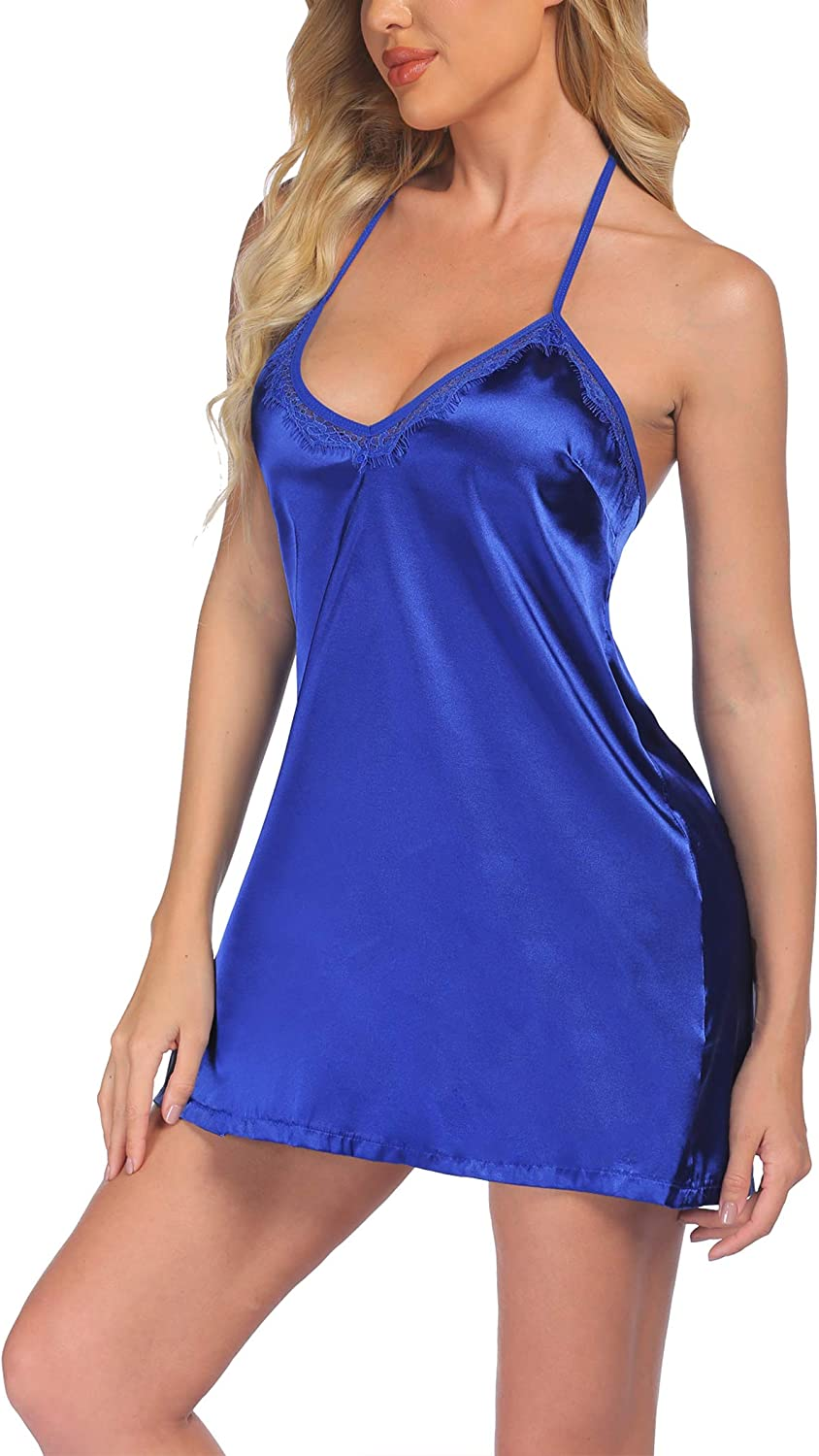 Ekouaer Women Nightgown Satin V Lingerie Sexy Neck Lace Chemises A surprise Store price is realized