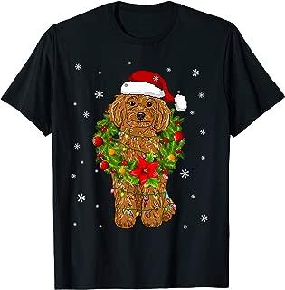 Santa Poodle Dog with Christmas lights Gifts Xmas T-Shirt