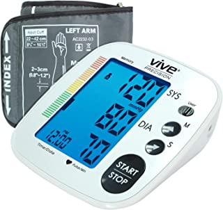 Vive Precision Blood Pressure Cuff - Heart Rate Monitor Machine - Automatic BPM Sphygmomanometer Heartbeat Measurements for Hypertension Diagnosis, Accurate Pulse Readings - Upper Arm Cuff (Silver)