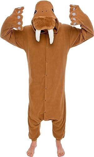 Silver Lilly -Adult Animal Pajamas - Walrus Animal Costume Plush One Piece