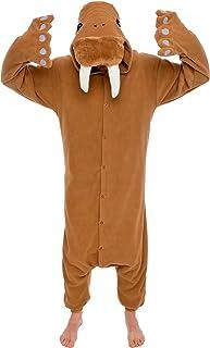 Unisex Adult Animal Pajamas – Plush One Piece Halloween Walrus Animal Costume Silver Lilly