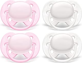 Philips AVENT Ultra Soft Pacifier, 0-6 Months, Arctic White/ Pink, 4 Pack, SCF214/41, White/ Pink