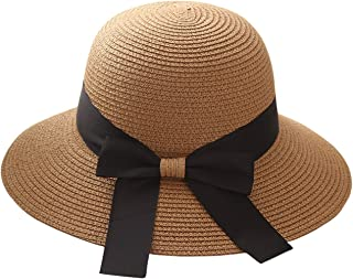 Women Floppy Sun Beach Straw Hats Wide Brim Summer Cap with Big Bowknot for Girls Ladies