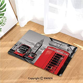 Flannel Bath Mat London Telephone Booth in The Street Traditional Local Cultural Icon England UK Retro Luxury Cushioned Pad for Bathroom Floors Non-Slip, Absorbent, Baby Shower Mats and Dries Feet,Re