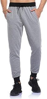 Pantalones Deportivos de Algodón para Hombres Jogging Chándal Slim Fit Ajustado Pantalón con Bolsillos