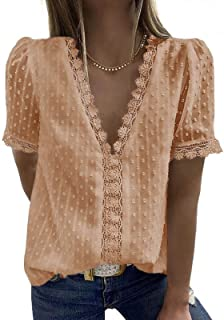 Women's Lace Blouse Elegant Chiffon Shirt Long Sleeve Solid Colour Fashion V Neck Casual T-Shirts Summer Autumn Tops for W...