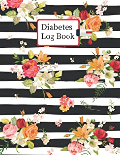 Diabetes Log Book: 2 Years, Daily Target Blood Sugar Range Insulin Does Grams Carb Phys Activity Record (Black Pattern Wit...