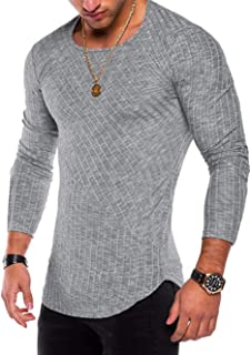 Icerom Men's Fashion Solid O Neck Long Sleeve Muscle Tee T-Shirt Tops Blouse
