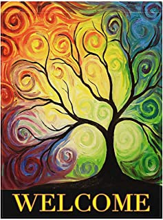 """ALAZA Colorful Rainbow Tree Branch Double Sided House Flag Garden Banner 28"""" x 40"""", Abstract Tree of Life Summer Spring Autumn Garden Flags for Anniversary Yard Outdoor Decoration"""