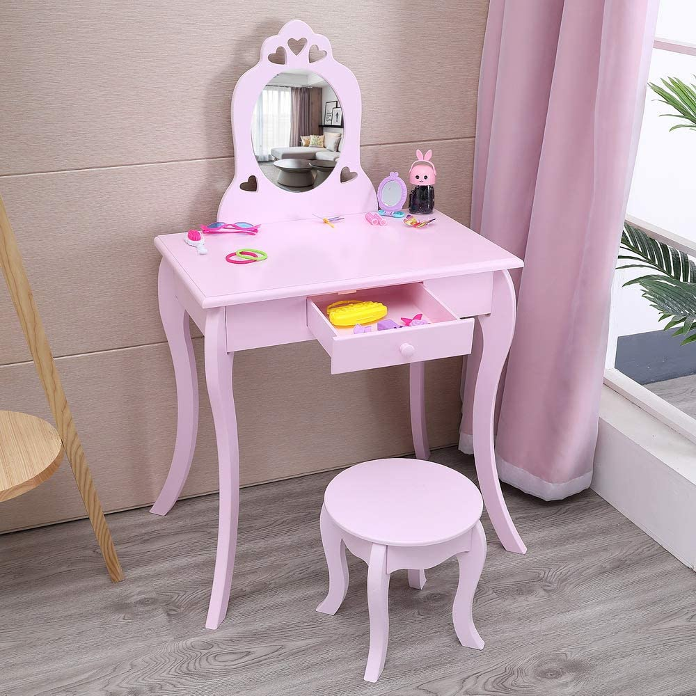 FRITHJILL Free Popular overseas shipping Kids Vanity Set Wooden Table with Makeup Stoo Princess