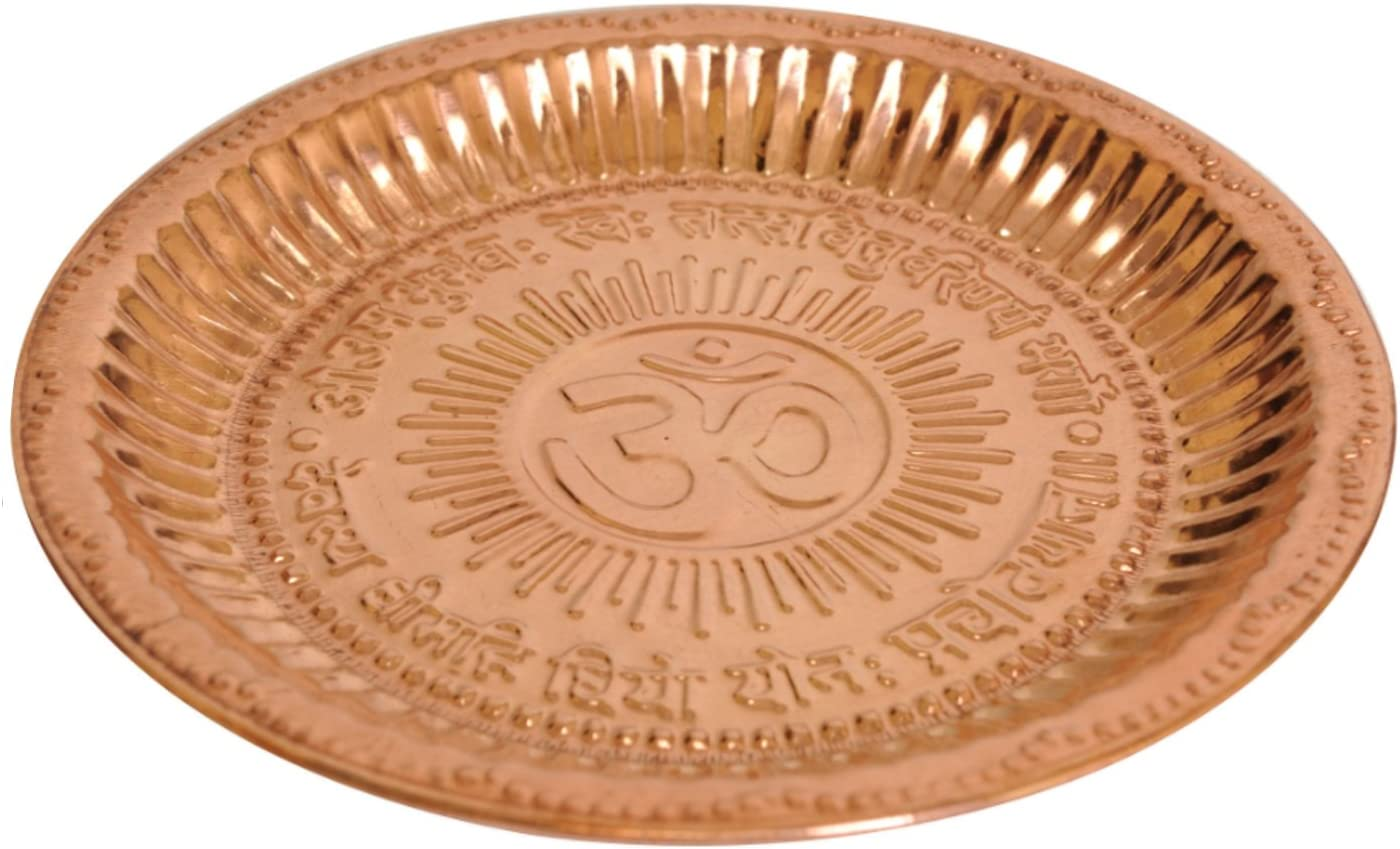 Starnk Handmade Copper Hindu Puja Thali 5 popular Om Symbol Gayat Quality inspection and with