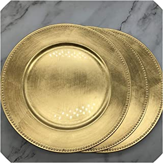 13 inch gold plastic beaded charger plates Elegant Pearl dish Decorative Salad Wedding Christmas salver,3pcs,diameter 33cm