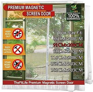 TheFitLife Magnetyczna moskitiera do drzwi - wytrzymała zasłona z siatki z pełnym haczykiem i pętlą na całej ramce oraz po...