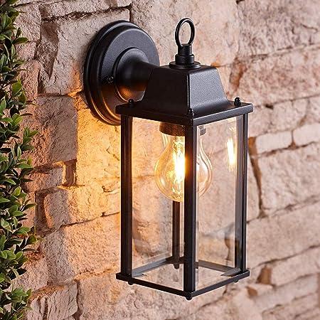 CGC Black Bevelled Glass Coach Lantern Wall Light Porch Indoor Outdoor Garden Decorative Lamp Fixture IP23