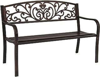 koonlert Shop Outdoor Chair Patio Bench Metal Garden Backyard Furniture Deck Park Seat Antique Bronze # 568