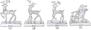 BIRDROCK HOME Reindeer & Santa Claus Stocking Holder Set for Mantle - Set of 4-3 Reindeer- Holiday Mantle Fireplace Topper - Decorative Christmas Stocking Holder - Family Décor Stand Hanger - Steel