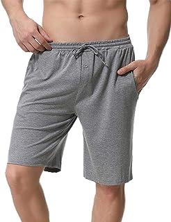 Pantalones Cortos de Pijama para Hombre Cintura elástica Ajustable y Bolsillo Lateral Pantalones Boxeador Verano Shorts