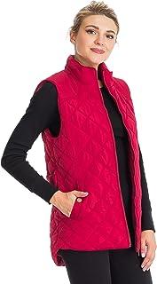 NANAVA Women's Regular Fit Diamond Quilted Zipper Vest Outerwear