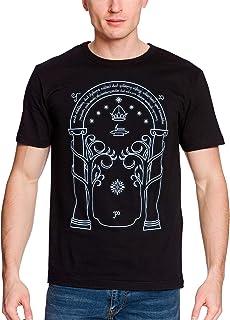 Elbenwald Portes de Durin T-Shirt pour Hommes Glow in The Dark pour Les Fans du Seigneur des Anneaux Coton Noir