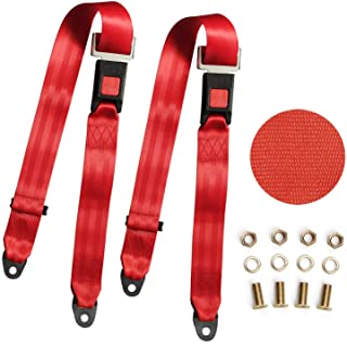 Universal Lap Seat Belt, 2 Point Adjustable Harness Kit for Go Kart, UTV, Buggies, Club Golf Cart, Van, VR, Bus,Truck, Cars, 2 Pack, Red