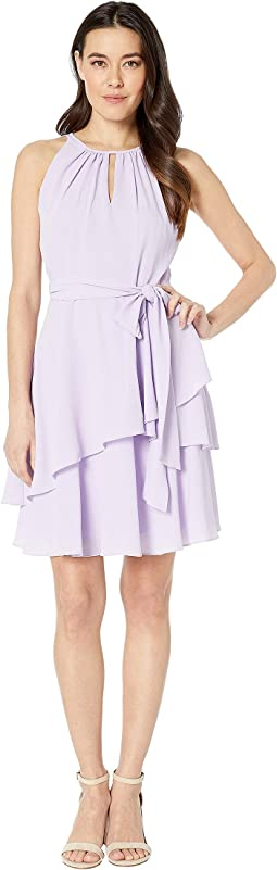 Petite Key Hole Halter Neck Textured Chiffon Dress with Side Tie and Tiers