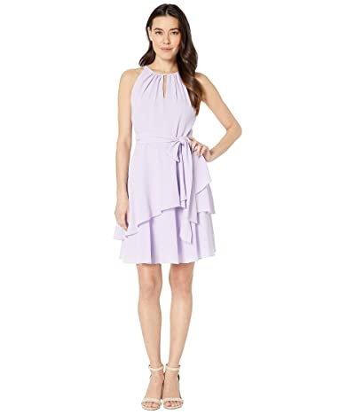 Tahari by ASL Petite Key Hole Halter Neck Textured Chiffon Dress with Side Tie and Tiers (Lavender) Women