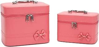 HOYOFO Makeup Case for Women Cosmetic Storage Box Makeup Train Case (2 Bags/set) (Pink)