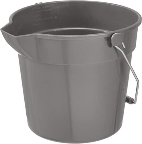 AmazonCommercial 10 Quart Plastic Cleaning Bucket, Grey - 6-pack